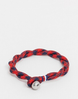 Tommy Hilfiger woven bracelet in red & navy