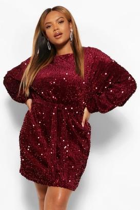 boohoo Plus Oversized Blouson Sleeve Mini Dress In Sequin