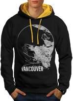 Canada Big Vancouver City Map Men NEW XXL Contrast Hoodie | Wellcoda