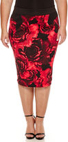 Bisou Bisou Floral Pencil Skirt Plus