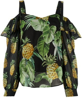 Twin-Set Fruit-Print Cotton Blouse
