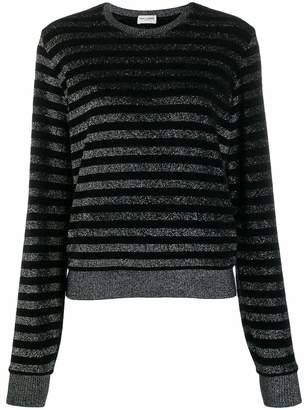 Saint Laurent Long Sleeve Crewneck Lurex Striped Sweater