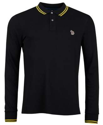 Paul Smith Supima Cotton Long Sleeved Polo Shirt Colour: Black And Yel