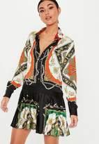 Missguided Scarf Print Drop Hem Pleated Shirt Dress