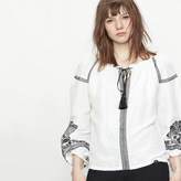 Maje Embroidered blouse with tassels