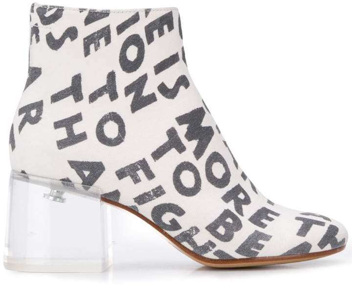 MM6 MAISON MARGIELA text print ankle boots