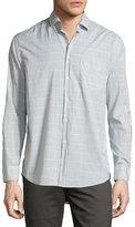 Billy Reid John Windowpane Oxford Shirt, Gray/White