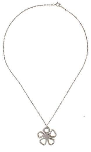 Tiffany & Co. Sterling Silver Open Flower Pendant Necklace