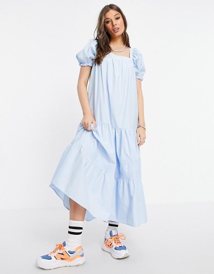 Stradivarius puff sleeve midi smock dress in blue