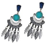 Gottex Rhodium Plated Crystal Wild Feather Earrings.