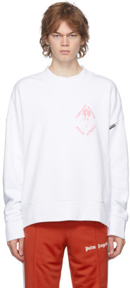 Palm Angels White and Pink Exotic Club Sweatshirt