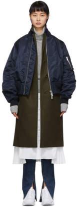 Sacai Khaki and Navy Wool Melton Coat