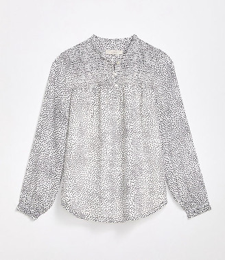 LOFT Petite Dotted Smocked Henley Blouse