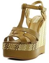 Lauren Ralph Lauren Maeva Open Toe Leather Wedge Sandal.