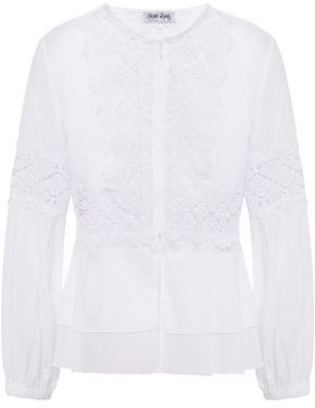 Charo Ruiz Ibiza Crocheted Lace-paneled Cotton-blend Voile Jacket