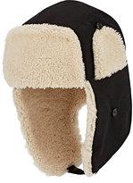 Moncler Men's Fur-Trimmed Tech-Canvas Trapper Hat-BLACK
