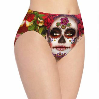 VOROY Day of The Dead Girl Women's Panty Cotton Underwear for Female Red Large
