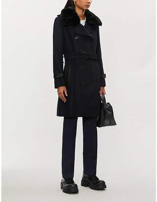 The Kooples Faux-fur collar wool-blend coat