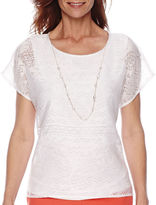 Alfred Dunner Feels Like Spring Short-Sleeve Burnout Top and Necklace