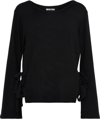 LnA Ezra Bow-detailed Brushed Stretch-tencel Sweater
