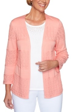 Alfred Dunner Petite Classics Pointelle Open-Front Cardigan