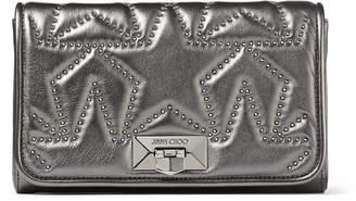 Jimmy Choo HELIA CLUTCH Dark Anthracite Matelasse Nappa Leather with Metallic Star-Studded Clutch Bag