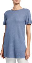 Eileen Fisher Organic Linen/Cotton Short-Sleeve Corded Tunic Sweater