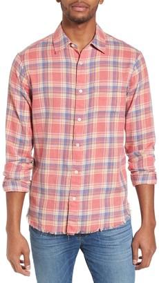 Frame Fray Hem Plaid Print Slim Fit Flannel Shirt