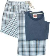 Majestic International Majestic Wolf Pack Big & Tall Cotton Solid Shirt with Plaid Pants Pajama Set