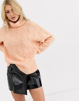 Bershka roll neck cable knitted sweater in salmon