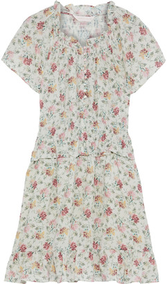 Rebecca Taylor Shirred Floral-print Hammered Silk-blend Mini Dress
