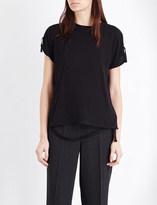 Helmut Lang Strap detail cotton and cashmere t-shirt
