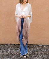 Leto Collection Women's Kimono Cardigans ROSE - Rose & White Ombre Fringe-Hem Kimono - Women