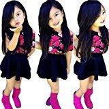 Baby Girls Dress,Fheaven Floral Baby Kids Girl Dress Short Sleeve Tops T-Shirt+Skirt Outfits Set Clothes (5T, Navy)