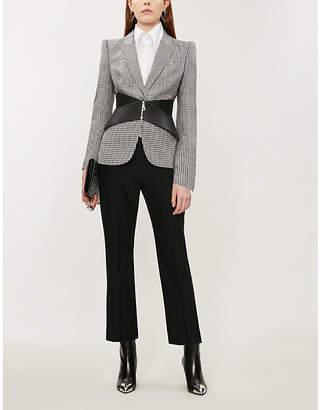 Alexander McQueen Peak-lapels padded-shoulders wool blazer