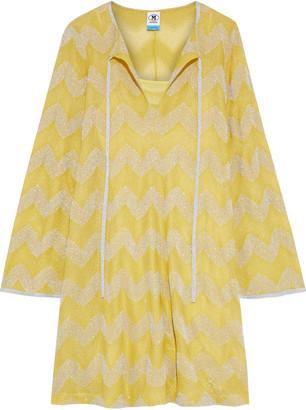 M Missoni Striped Metallic Crochet-knit Mini Dress