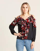 Emilio Pucci Silk Ruffle Chiffon Cold Shoulder Blouse