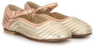Fendi Kids Ankle Strap Ballerina Flats