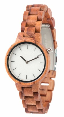 LAiMER wood watch MARMO ROSE womens wristwatch made of 100% rose wood and a dial consisting of South Tyrolean marble