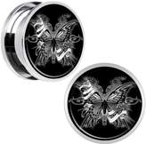 Body Candy Stainless Steel Black and White Butterfly Screw Fit Plug Pair 18mm