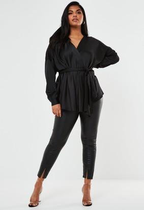 Missguided Plus Size Black Satin Plunge Tie Waist Blouse