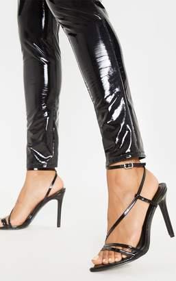 PrettyLittleThing Black Asymmetric Strappy Sandal