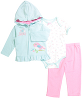 Buster Brown Sachet Pink & Clearwater 'Too Sweet' Ruffle Hoodie Set - Infant