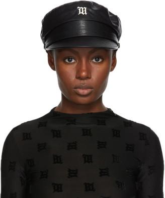 Misbhv Black Faux-Leather Monogram Gavroche Hat