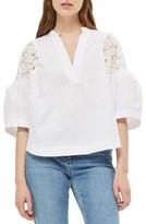 Topshop Women's Puff Sleeve Cotton Top