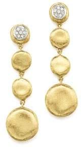 Marco Bicego Pavé Diamond Jaipur Drop Earrings in 18K White & Yellow Gold