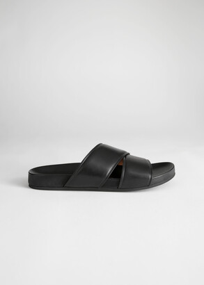 And other stories Criss Cross Leather Slip On Sandals