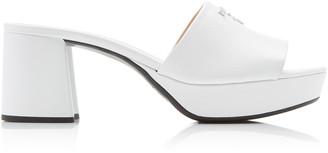 Prada Chunky Logo Leather Sandals