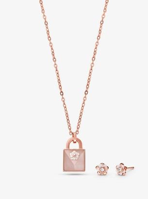 Michael Kors 14K Rose Gold-Plated Sterling Silver Necklace and Earrings Set