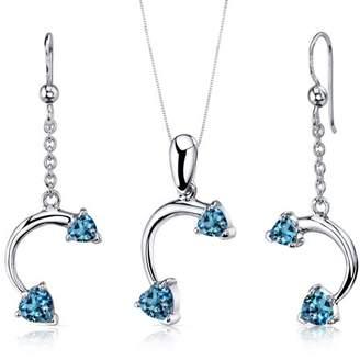 Oravo 2.25 ct Heart Cut London Blue Topaz Earring Pendant Set in Sterling Silver